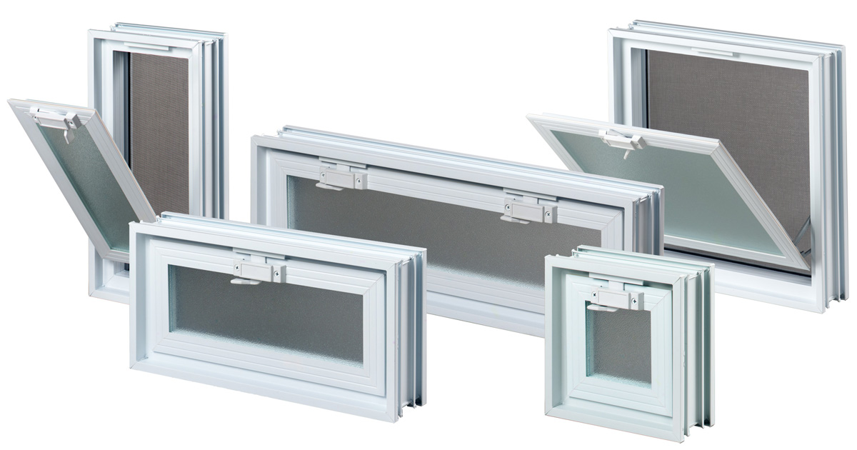 Ventilation windows for glass blocks